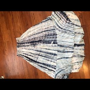 Long the dye flowy skirt